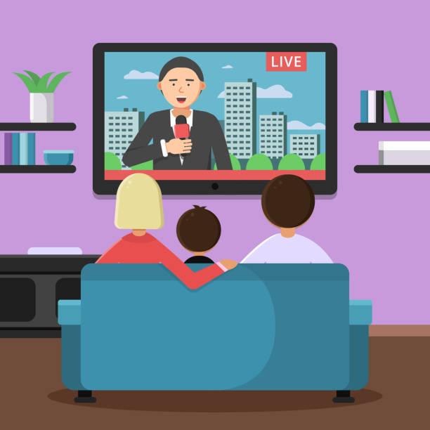ilustrações de stock, clip art, desenhos animados e ícones de family couple sitting on sofa and watching news at tv - tv e familia e ecrã