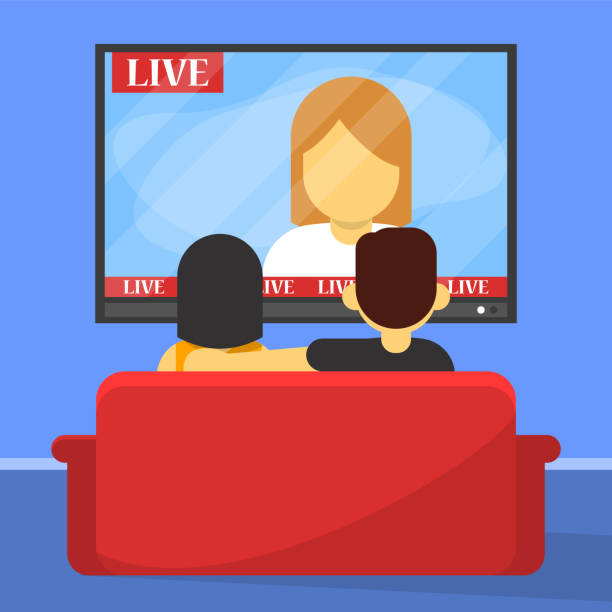 Family couple watch TV sitting on the sofa back view Family couple watch TV sitting on the sofa back view. People on the couch relax after work. Flat style vector isolated. Free time in living room. watching tv stock illustrations