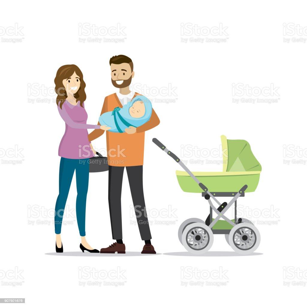 Couple famille avec nouveau-né et Landau - Illustration vectorielle