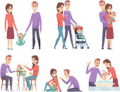 Family couples. Love mother and father playing with their little kids happy mom dad parents vector illustrations. Father and mother with child