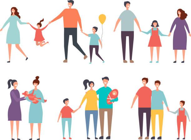 stockillustraties, clipart, cartoons en iconen met familie paren. niet-traditionele gezin homoseksuele paren mannelijk, vrouwelijk - sociale dienst