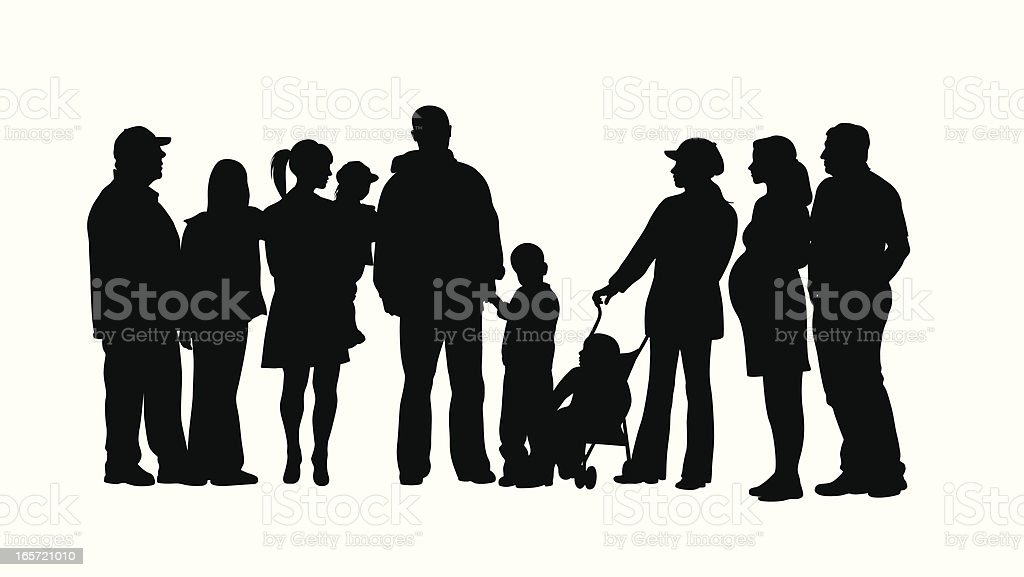 Family Crowd Vector Silhouette vector art illustration