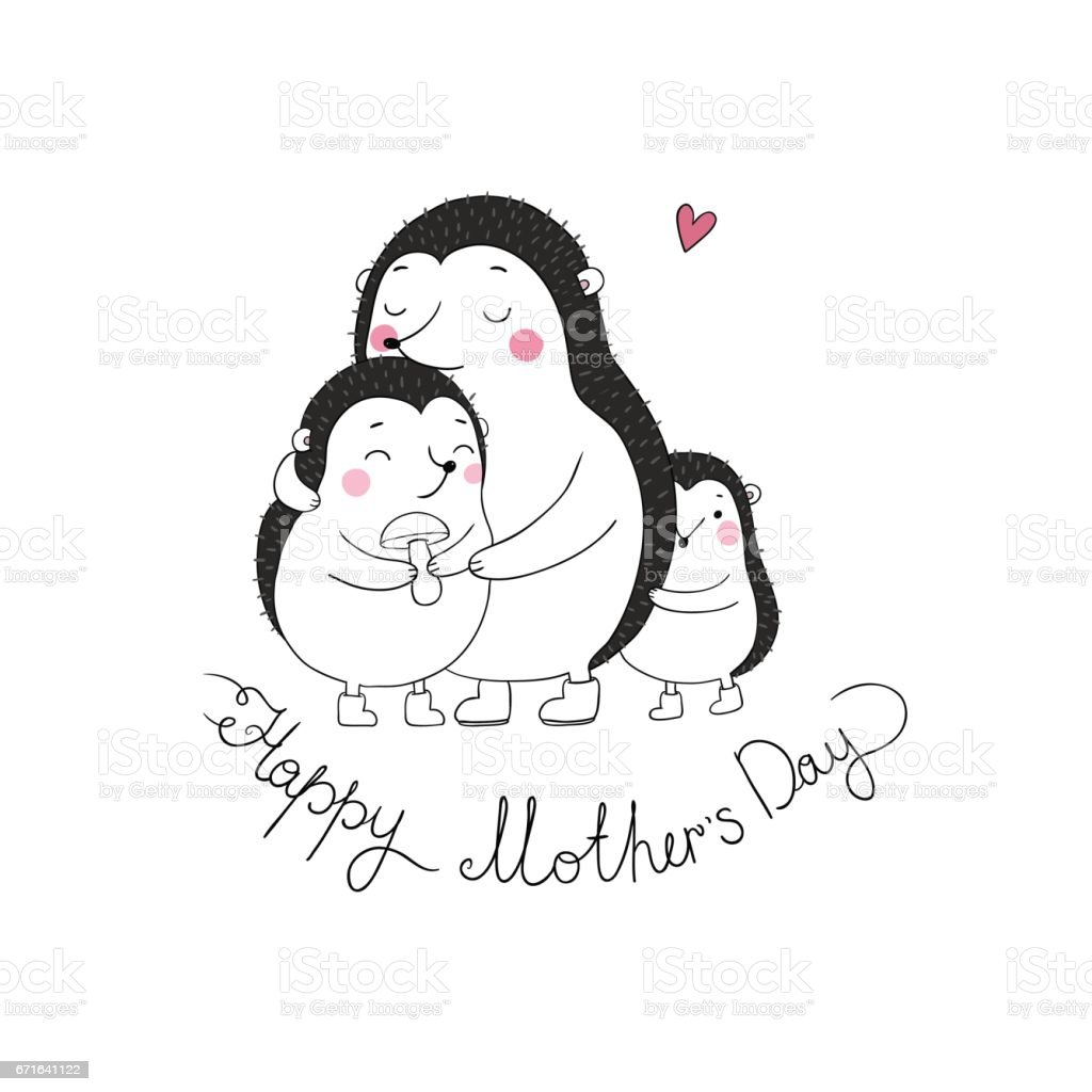 Family Cute Hedgehogs Mom And Kids Cartoon Animals Stock Illustration Download Image Now Istock
