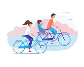Family cycling together flat vector illustration