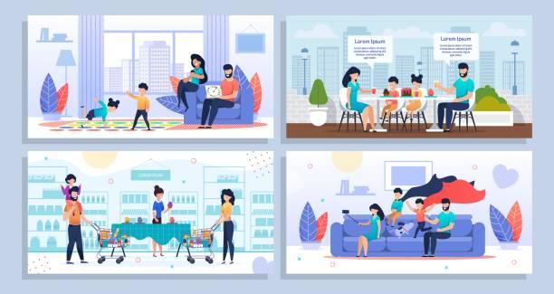 Family Daily Home Aktivitäten und Freizeit Set – Vektorgrafik