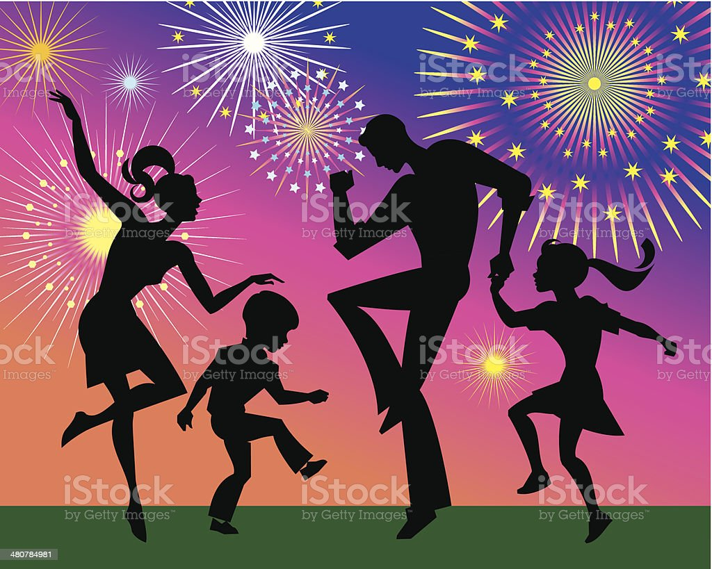 Family Dancing C vector art illustration