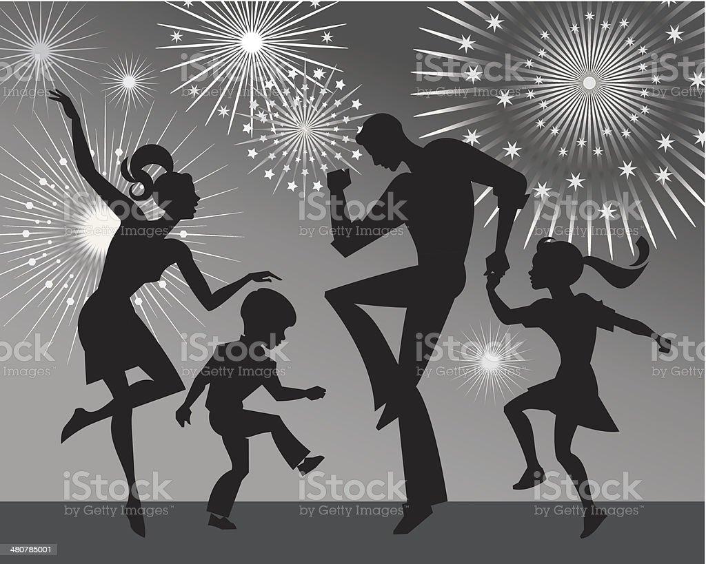 Familia de baile - ilustración de arte vectorial