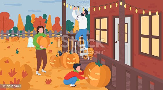 istock Family decorate for Halloween flat color vector illustration 1272957449