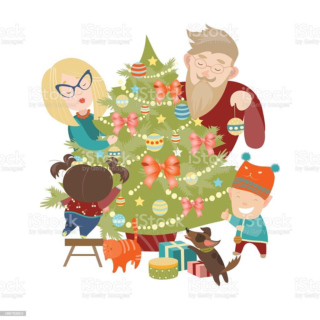 Family decorating a Christmas tree vector art illustration