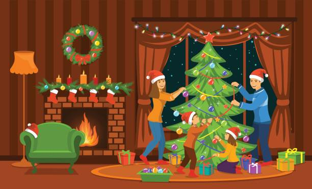 family decorating christmas tree in living room at home scene vector art illustration