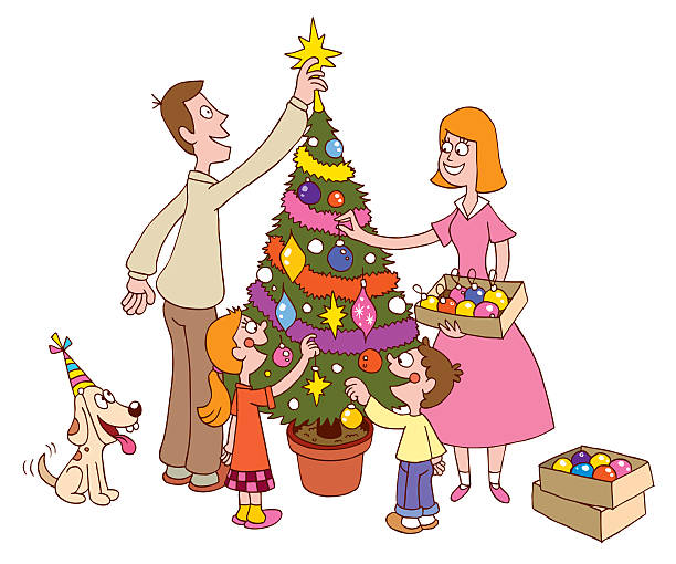 Royalty Free Decorating The Christmas Tree Clip Art ...