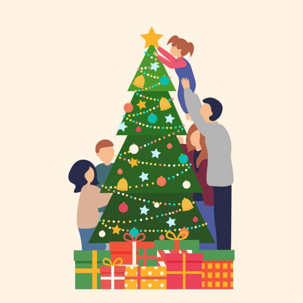 bildbanksillustrationer, clip art samt tecknat material och ikoner med familj dekorera tillsammans julgran - christmas gift family