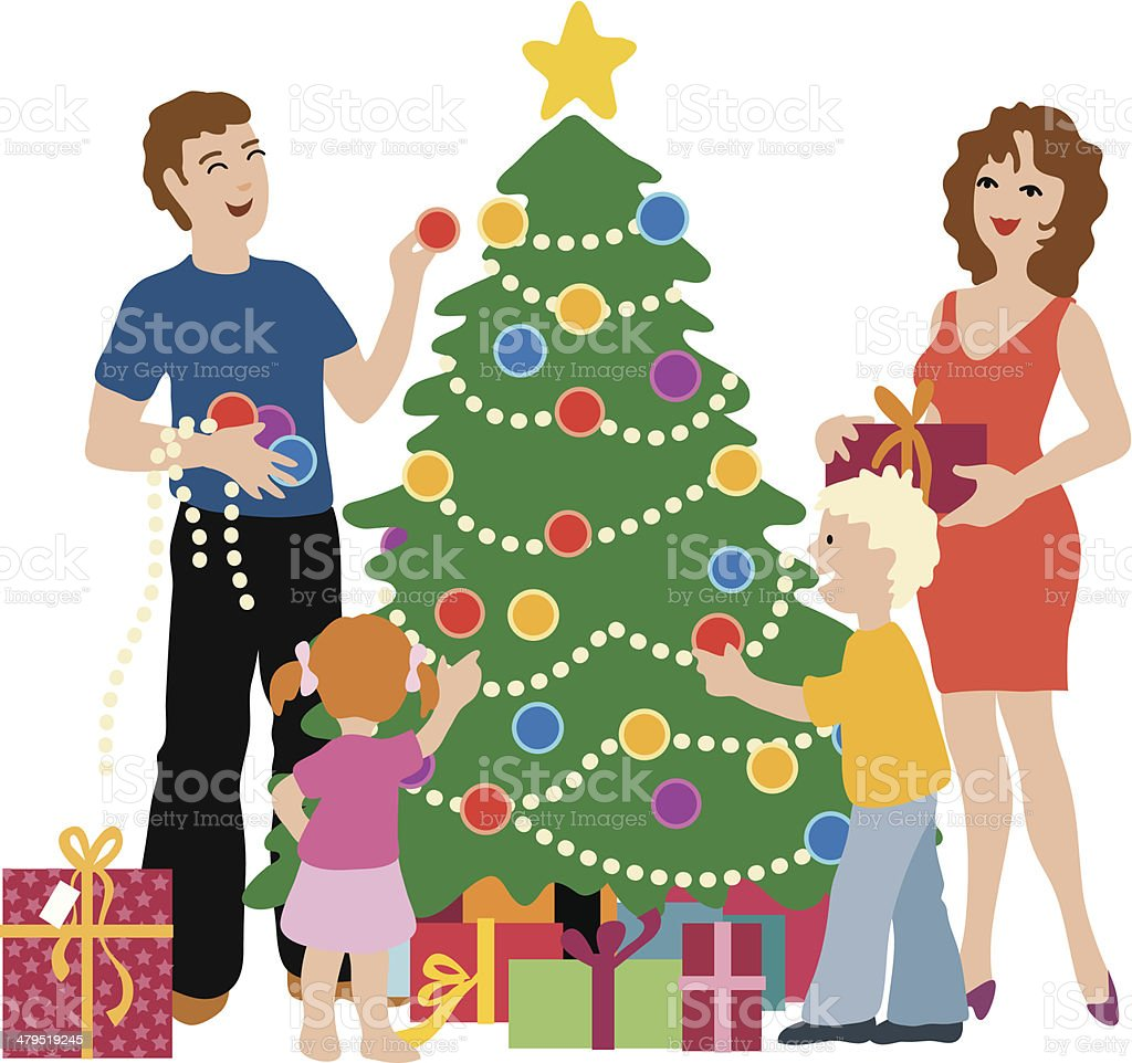 Family decorating tree royalty-free family decorating tree stock vector art & more images of adult