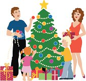 A family is decorating their christmas tree together. Every person  on seperate layers makes this illusration very easy to edit.