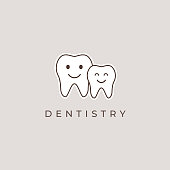 Family dental clinic emblem. Dentist vector sign icon.