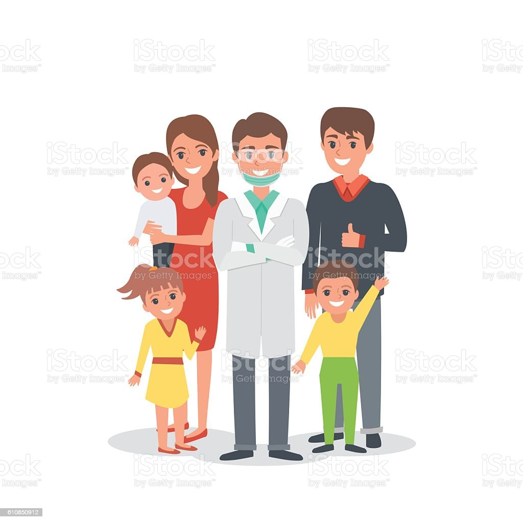 Family dentist vector art illustration