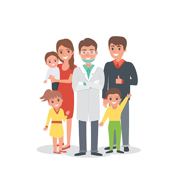 Dentiste en famille - Illustration vectorielle