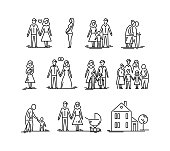 Family development stages. Parents and children. Relationship mother father kids grandfather and grandmother
