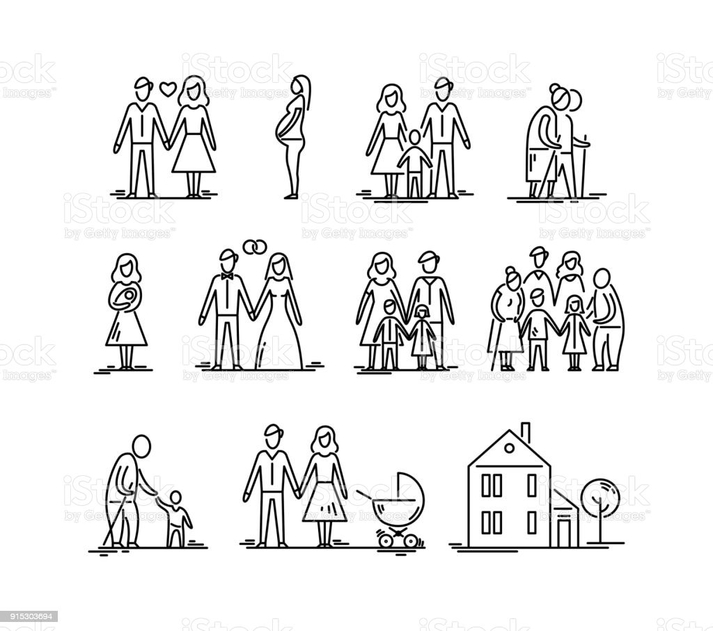 Family development stages. Parents and children. Relationship mother father kids grandfather and grandmother. vector art illustration