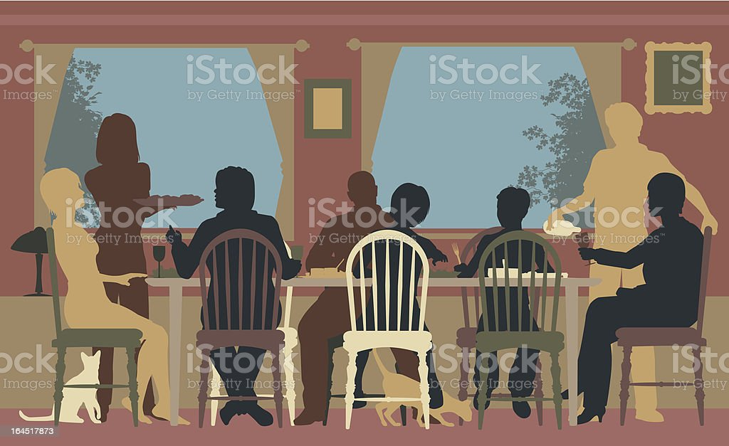 Family dining vector art illustration