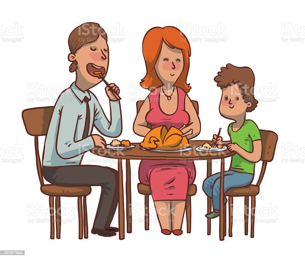 royalty free family eating dinner clip art vector images rh istockphoto com