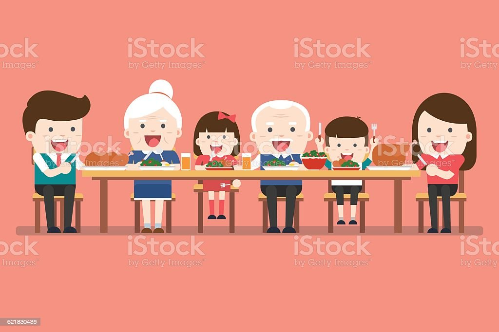 Family dinner. Happy extended family having Thanksgiving dinner - Illustration vectorielle