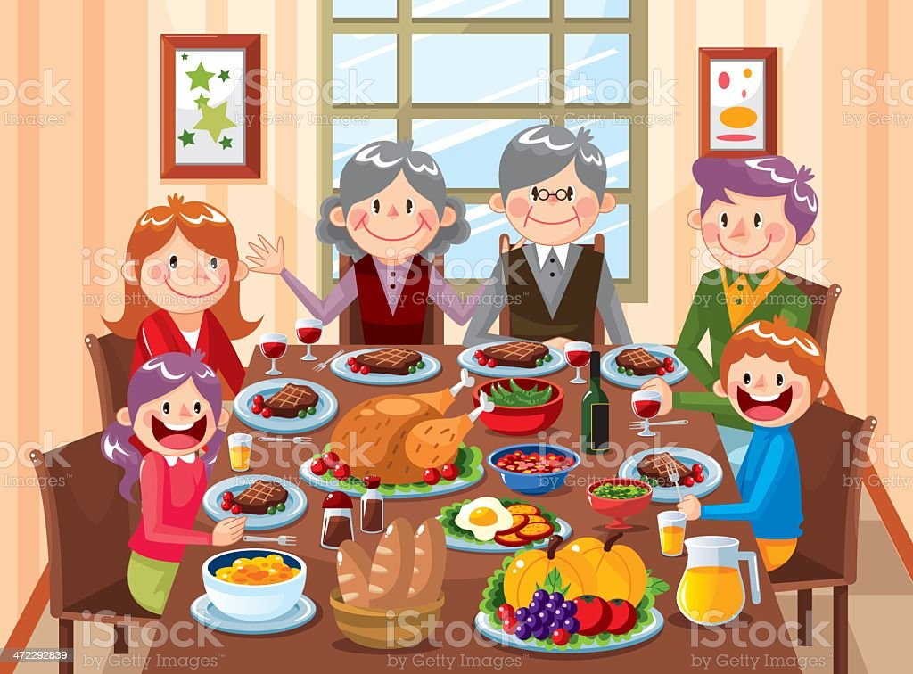 Family dinner time vector art illustration