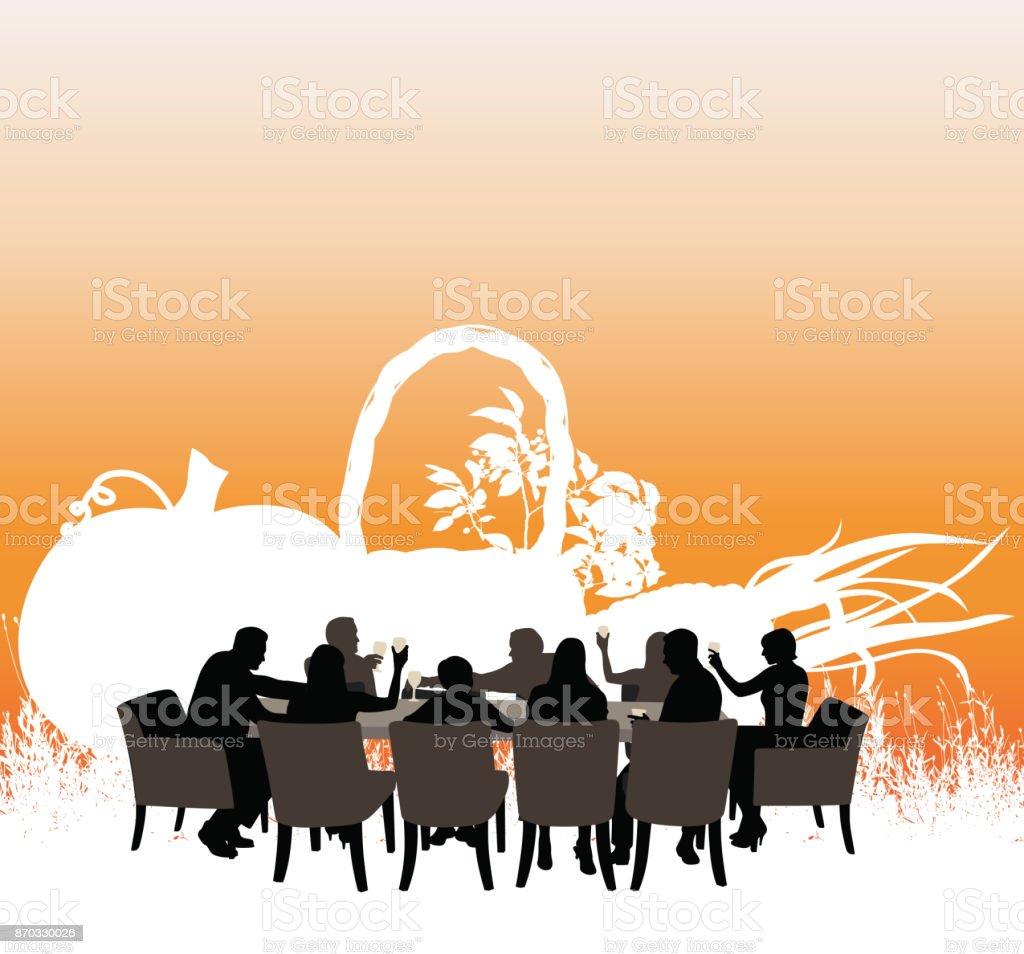 Family Dinner Toast vector art illustration