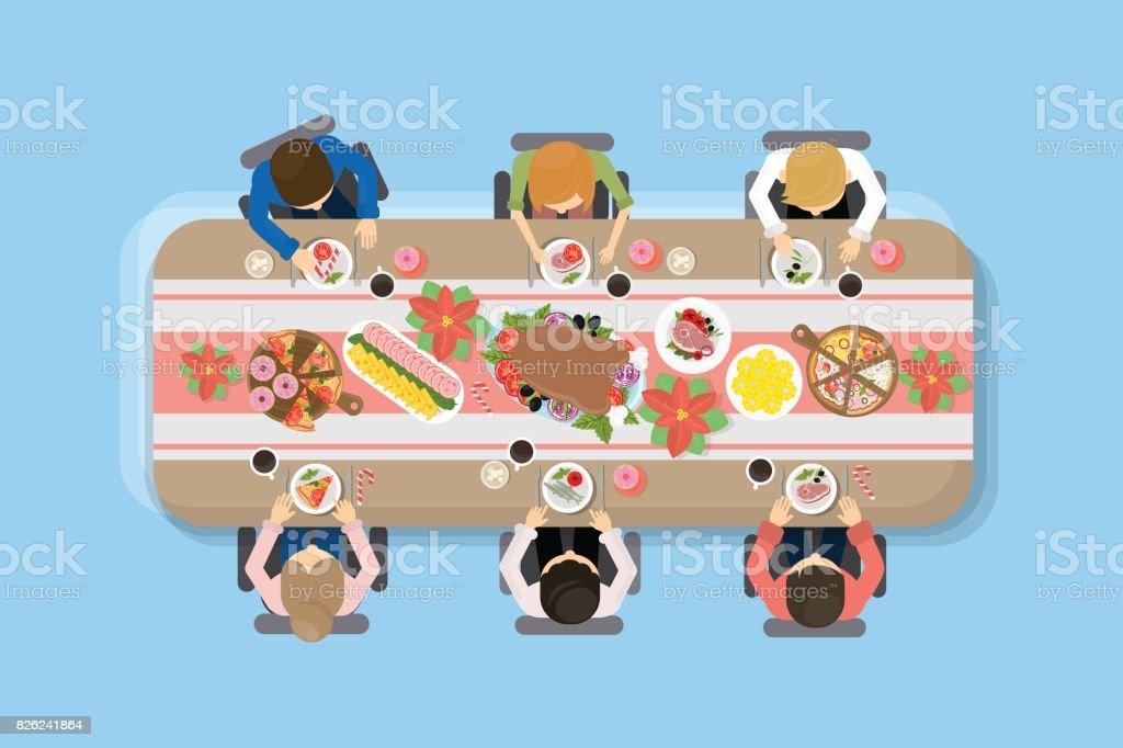 Family dinner top view. vector art illustration