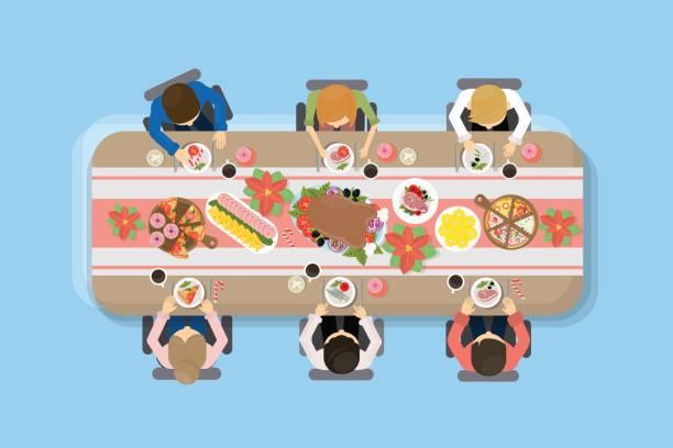 family dinner top view. - family dinner stock illustrations