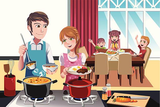 Dîner en famille - Illustration vectorielle