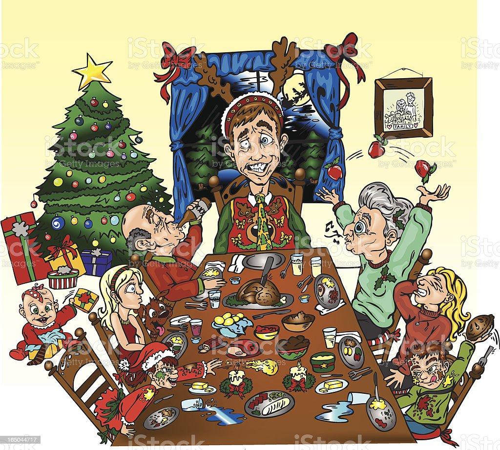 Una cena familiar. - ilustración de arte vectorial