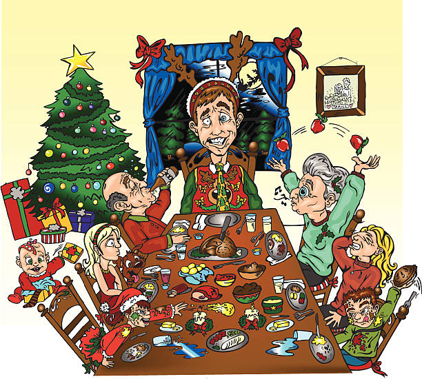 ilustrações de stock, clip art, desenhos animados e ícones de jantar de família! - family christmas