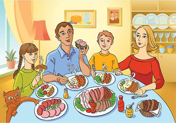 Family Dinner Vector Art Illustration Meal
