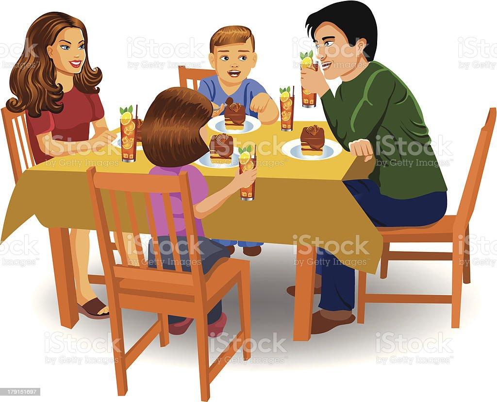 family dinner vector art illustration