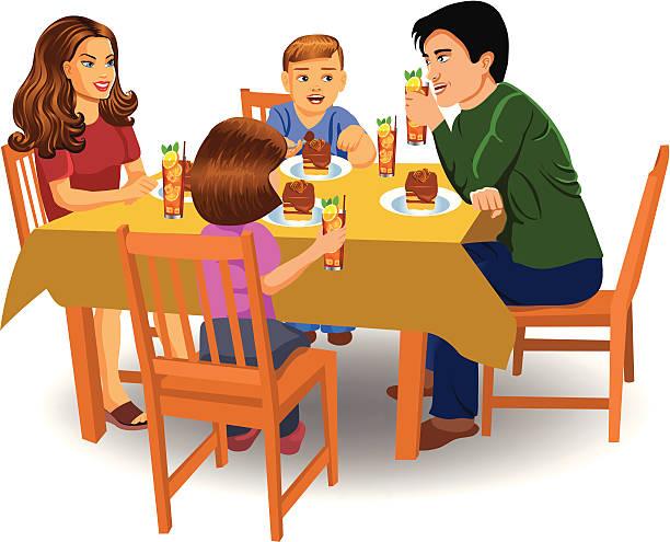 family dinner - family dinner stock illustrations