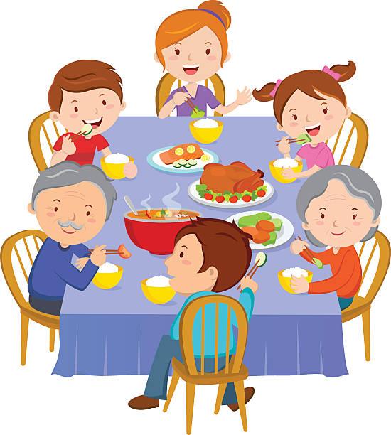 ilustrações de stock, clip art, desenhos animados e ícones de jantar de família - woman eating salmon