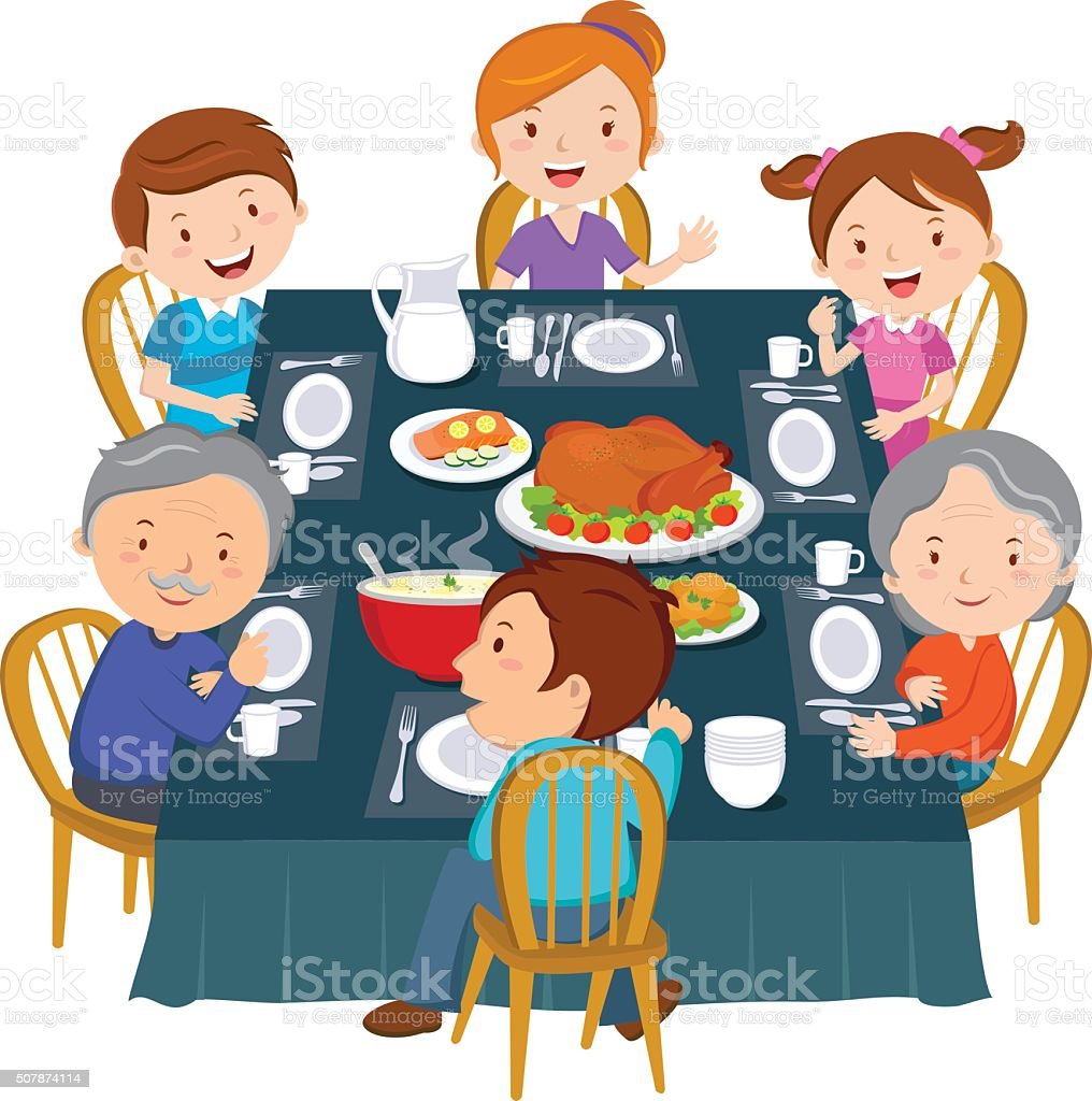 Eating Table Cartoon: Family Dinner Stock Vector Art & More Images Of Adult