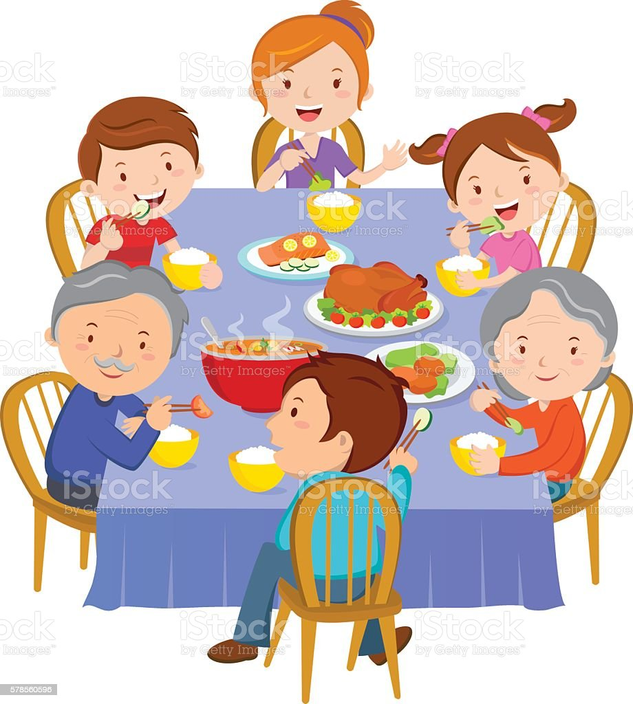 Family dinner vector art illustration