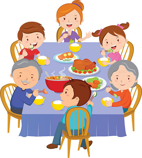family dinner - reunion stock illustrations, clip art, cartoons, & icons