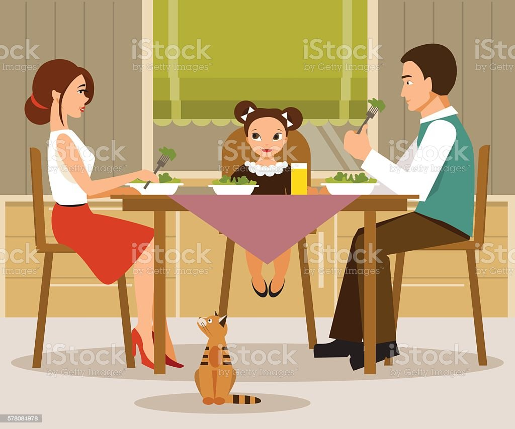 Family dinner. Vector illustration, flat style - Illustration vectorielle