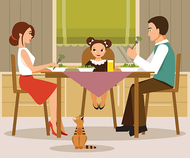 family dinner. vector illustration, flat style - family dinner stock illustrations, clip art, cartoons, & icons