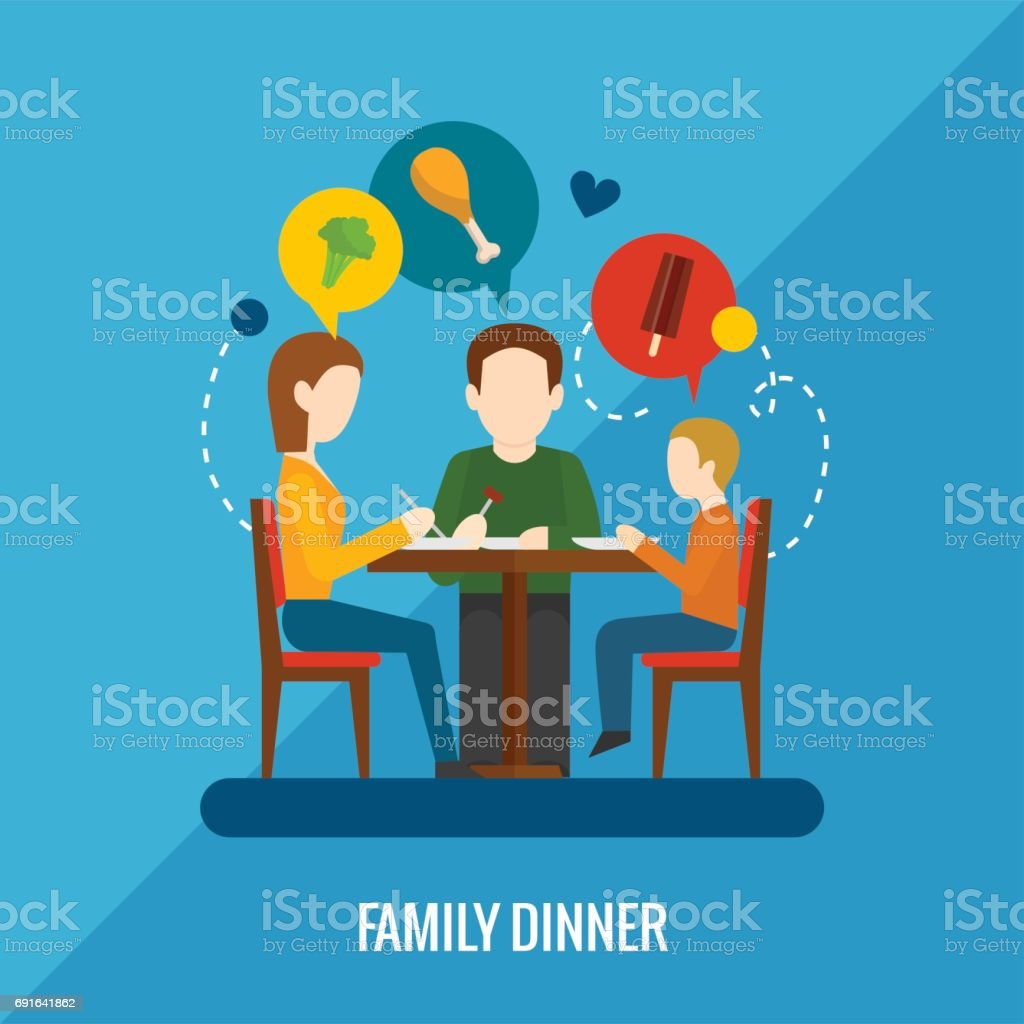 family dinner vector vector art illustration
