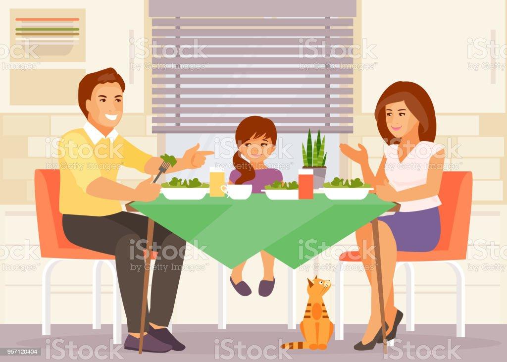 Vetor de jantar em família - ilustração de arte em vetor