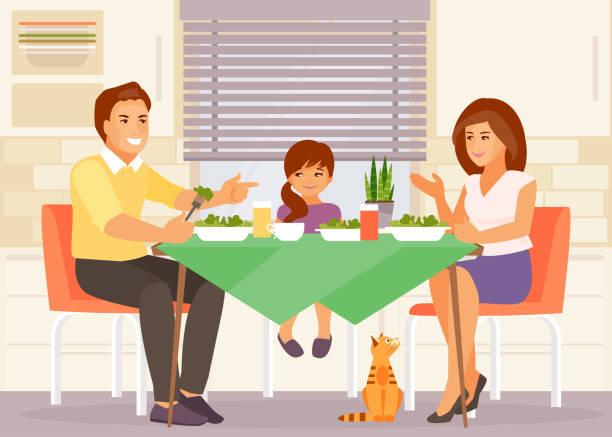 family dinner vector - family dinner stock illustrations