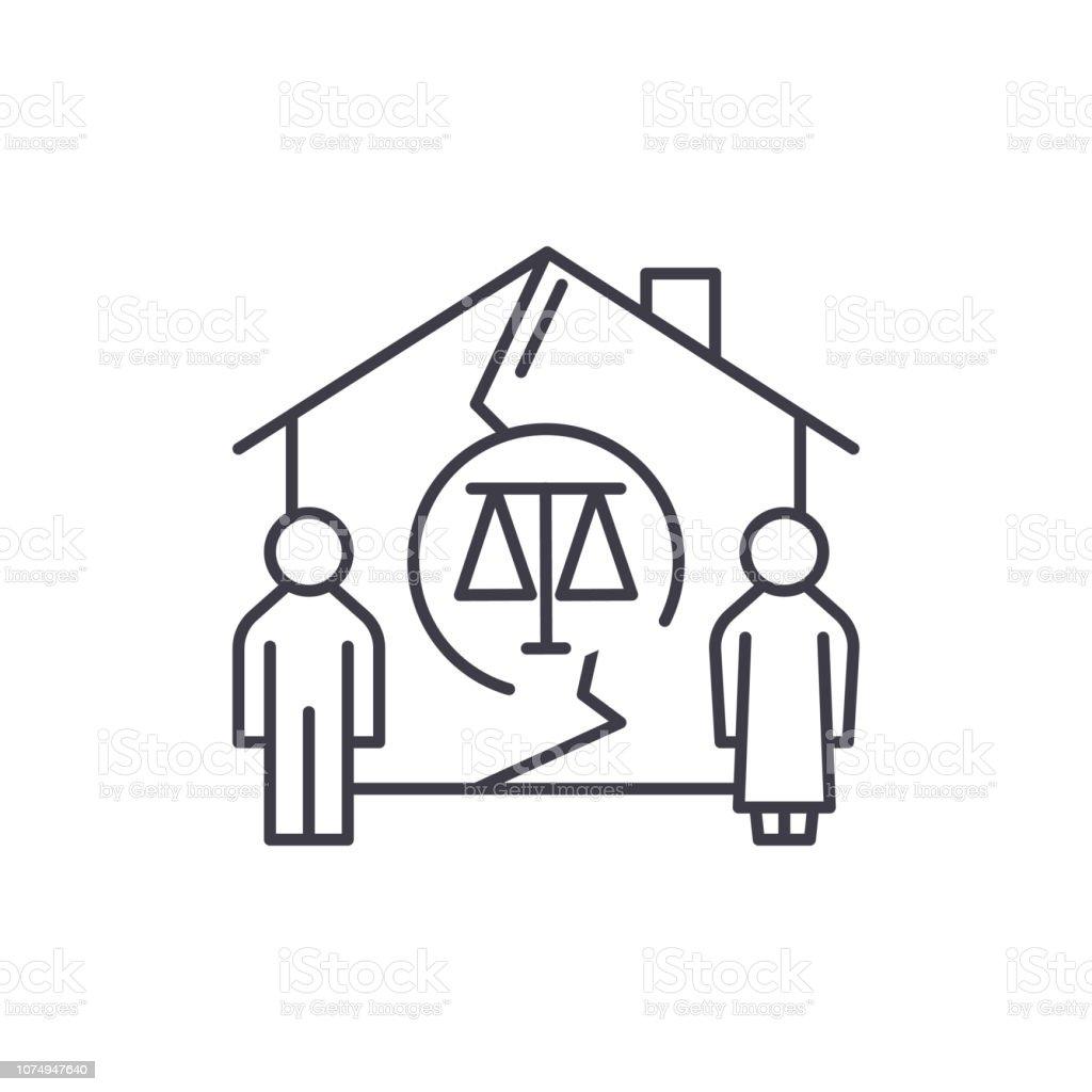 Family Divorce Line Icon Concept Family Divorce Vector