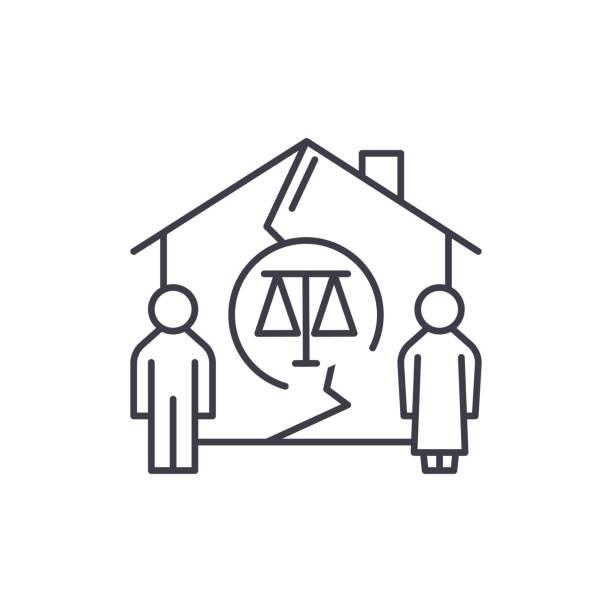 stockillustraties, clipart, cartoons en iconen met familie echtscheiding lijn pictogram concept. familie echtscheiding lineaire vectorillustratie, symbool, teken - couple fighting home