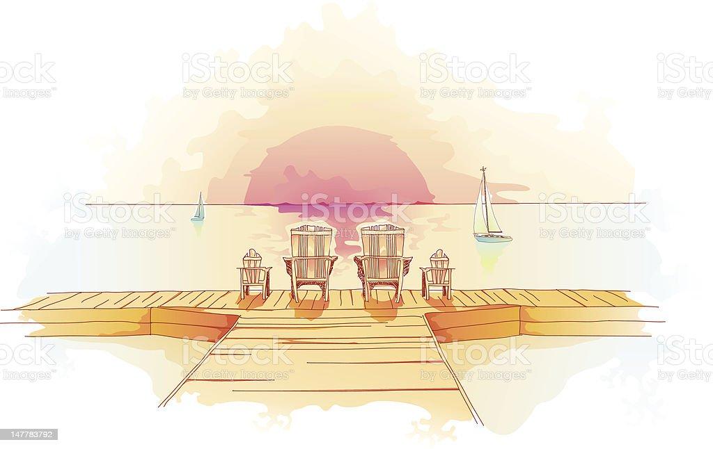 Family Dock royalty-free stock vector art