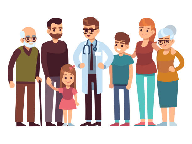 family doctor. big happy health family with therapist, patients parents kids healthcare professional service, flat vector design - old man smile silhouette stock illustrations