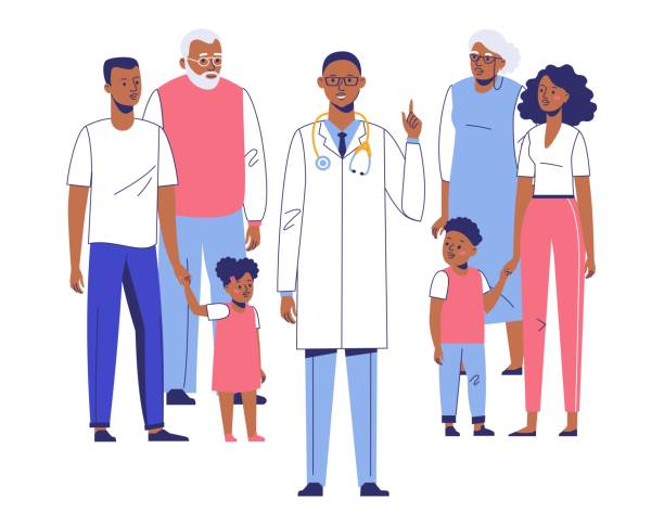 family doctor concept with ethnic patients. - old man smile silhouette stock illustrations